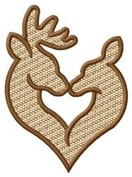 Deer Kiss embroidery design