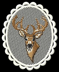 Deer Head Oval embroidery design