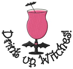 Witch Bat Drink embroidery design