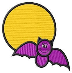 Halloween Moon Bat embroidery design