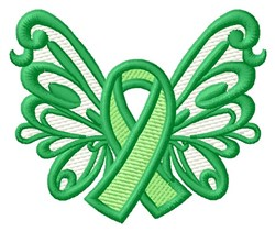 Butterfly Green Ribbon embroidery design