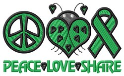 Peace Love Share embroidery design