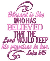 Blessed Is She embroidery design