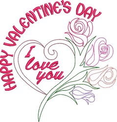 Happy Valentines Day Outline embroidery design