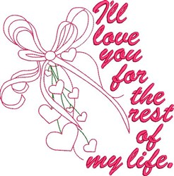 Heart & Ribbon Outline embroidery design