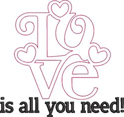 Valentines Day Love Outline embroidery design