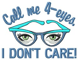 Call Me 4-Eyes embroidery design