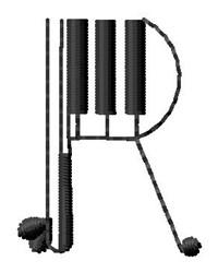 Piano R embroidery design