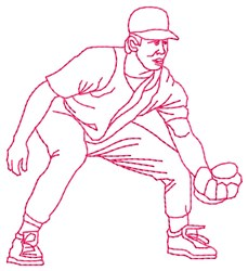 Baseball Fielder embroidery design
