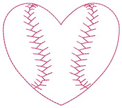 Heart Baseball embroidery design