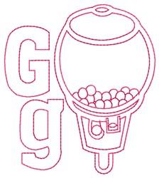 Gumball Machine G embroidery design