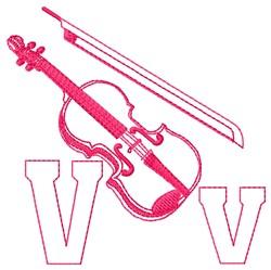 Violin V embroidery design