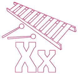 Xylophone X embroidery design