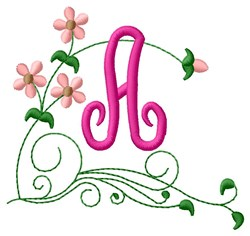 Floral Monogram A embroidery design