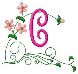 Floral Monogram C embroidery design