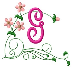 Floral Monogram G embroidery design
