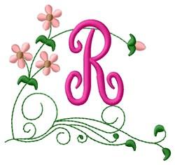 Floral Monogram R embroidery design