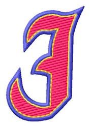 Baseball Font J embroidery design