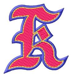 Baseball Font K embroidery design