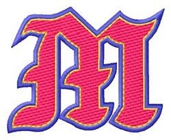 Baseball Font M embroidery design