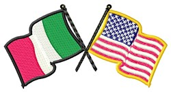 Italian American Crossed Flags embroidery design