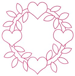 Heart Wreath embroidery design