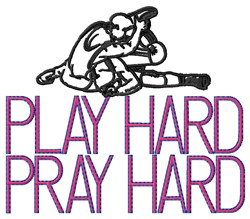 Wrestling Play Hard embroidery design