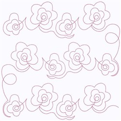 Flowers Block Continuous Stitch embroidery design