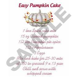 PUMPKIN CAKE RECIPE embroidery design