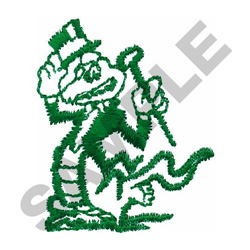 CROCODILE W/ TOP HAT & CANE embroidery design