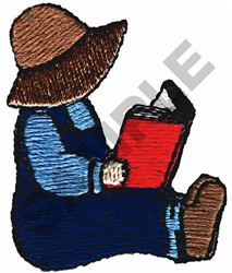 COUNTRY CHILD READING embroidery design