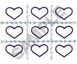 HEART TIC TAC TOE APPLIQUE embroidery design