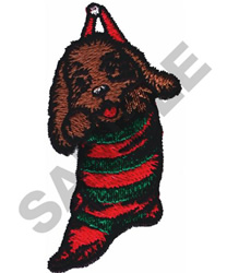 PUPPY IN STOCKING embroidery design