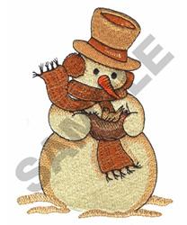 SNOWMAN HOLDING BIRD embroidery design