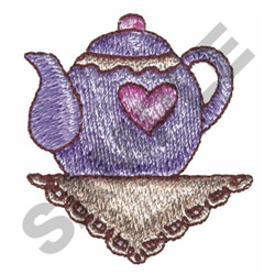 HEART TEAPOT embroidery design