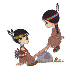 2 LITTLE INDIANS embroidery design