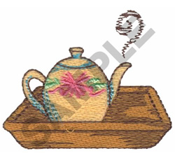 FLORAL TEAPOT ON SERVING TRAY embroidery design
