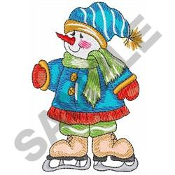 SNOWMAN ON ICE SKATES embroidery design