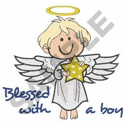 BLESSED WITH A BOY embroidery design