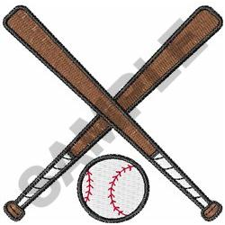 CROSSED BASEBALL BATS AND BALL embroidery design