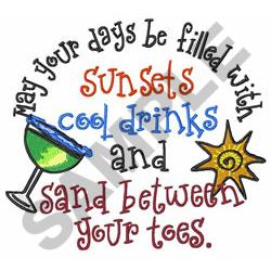 SUN AND DRINK embroidery design