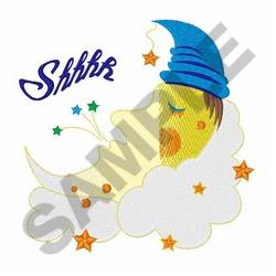 Shhhh Moon embroidery design