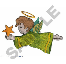 ANGEL WITH STAR embroidery design