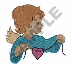 ANGEL HOLDING HEART embroidery design
