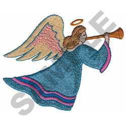 ANGEL BLOWING HORN embroidery design