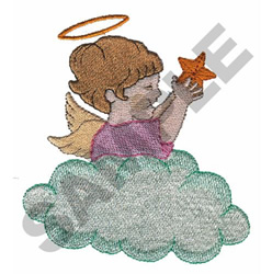 ANGEL HOLDING STAR IN THE CLOUDS embroidery design