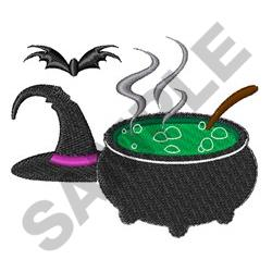 WITCHES HAT AND CAULDRON embroidery design