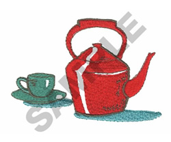 TEA POT AND CUP embroidery design