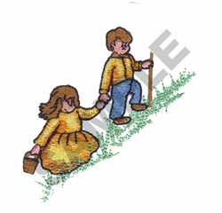KIDS GOING UP HILL embroidery design