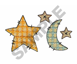 GINGHAM MOON AND STARS embroidery design